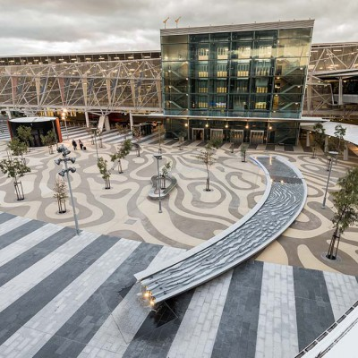 Carved Granite Water Feature – Adelaide Airport | Commercial Ceramics & Stone - Commercial Building Projects